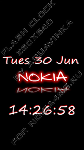 NOKIA RED - Flash Clock For NOKIA 5800 / N97 / 5530
