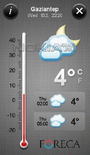 Weather Touch - Прогноз погоды на смартфоне Symbian 9.4