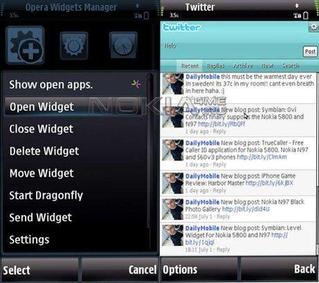 Opera Widgets Manager 10 - виджеты для Symbian