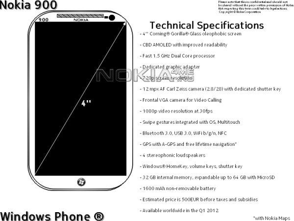 Nokia 900 – будущий флагман компании на Windows Phone 7?