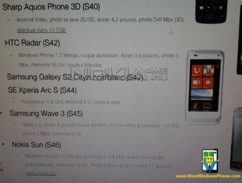 Nokia Sun - неизвестный смартфон на Windows Phone 7