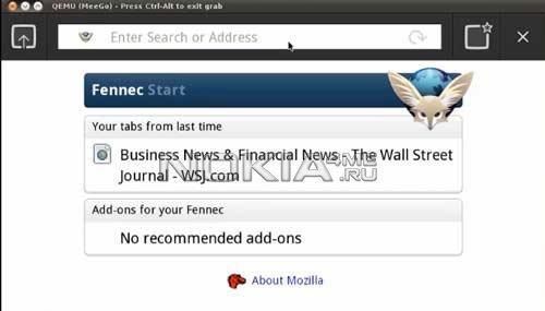 Firefox (Fennec) для Meego