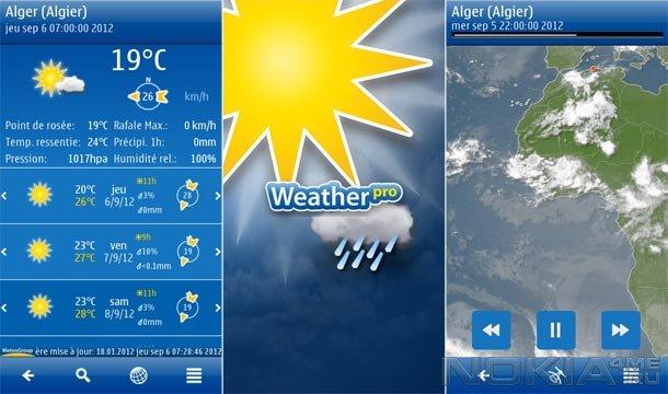 WeatherPro - Прогноз погоды для Symbian^3