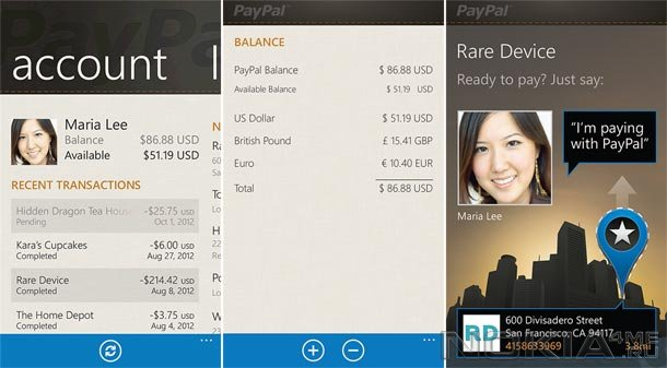 PayPal - Приложение для Windows Phone 7.5 и выше