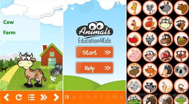Animals Education4Kids - Обучающее приложение для Windows Phone 7.5 и выше