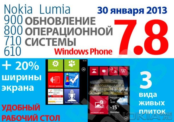 Nokia обновила Lumia 510, 610, 710, 800 и 900 до Windows Phone 7.8