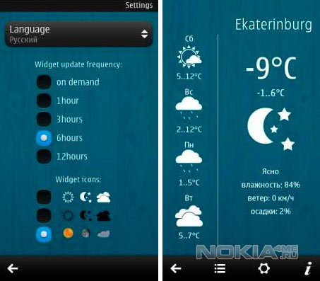 WeatherClock Widget - Погодные виджеты для Symbian Belle